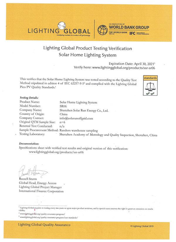 Lighting Global Product Testing Verification-SR06